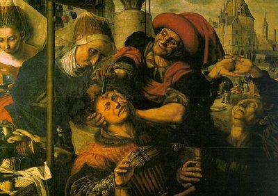 Antiguo barbero efectuando la trepanación